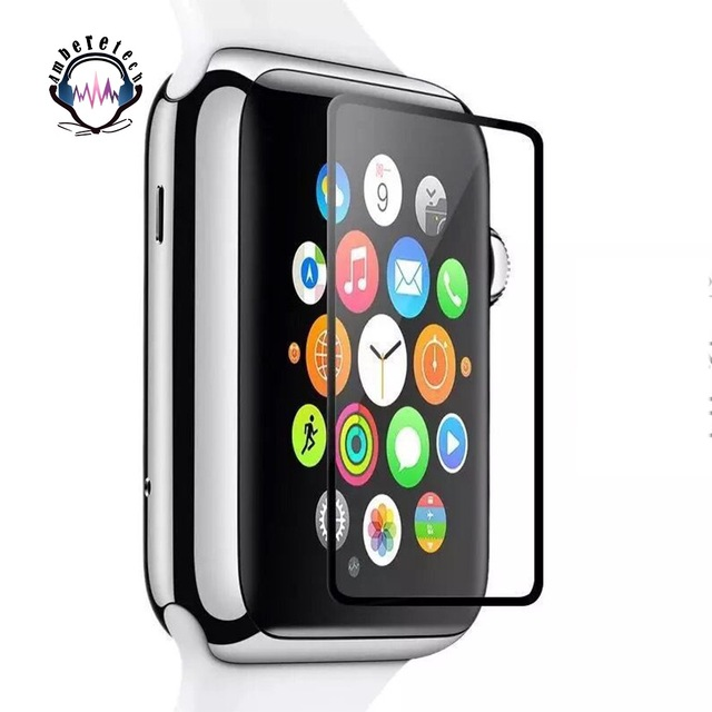 pretty nice dcdbc 3ca6c Tempered Glass Screen Protector for Apple Watch iWatch Series 1 2 Sports  Edition 2.5D 0.2mm Black edge Screen Film waterproof -in Smart Accessories  ...