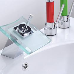 glass waterfall basin faucet with single handle hot cold bathroom waterfall faucet , sanitary ware , basin faucet