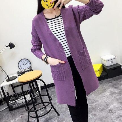 Nové 2019 dámské vlněné svetry svetr ženy cashmere pletené plus velikost kabát módní dlouhý rukáv volný svetr s kapsami