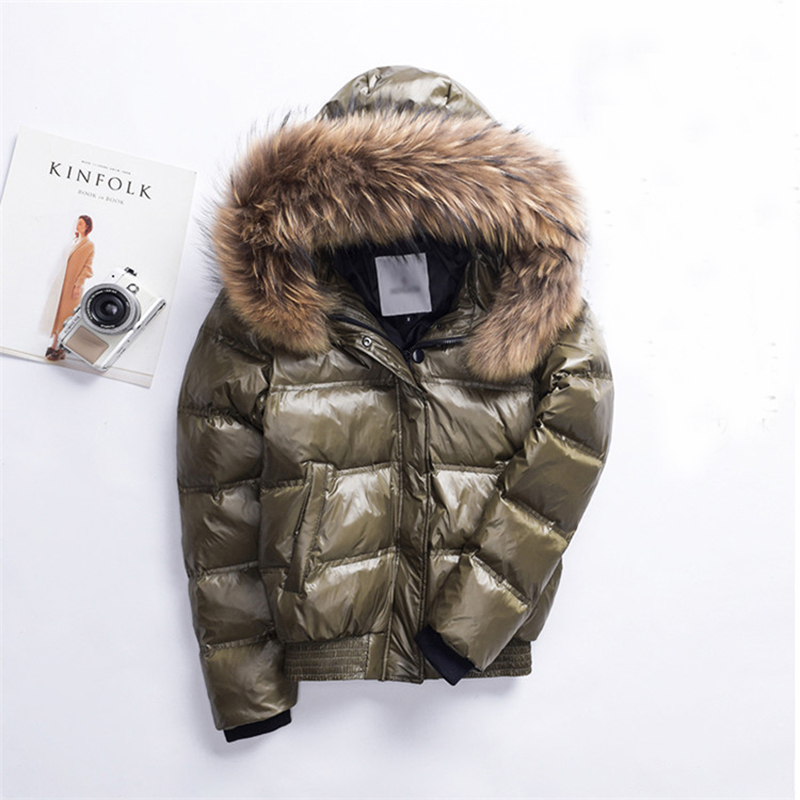 2018 Winter Hooded   Down   Jacket Women Warm Thick White Duck   Down     Coat   Female Big Fur Collar Parka Short   Coats   Plus Size 2XL A1127