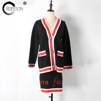 ORDEESON Pearl Stones Button Runaway Knitting Sweater Fall 2017 Fashion Skirt Set Two Piece Outfits 2