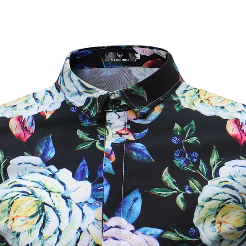 Большой цветок рубашка Для мужчин 2018 летние шорты рукавом Для мужчин s Гавайские рубашки Повседневное Slim Fit Цветочный Пляж Camisa Masculina мужской рубашки 3XL