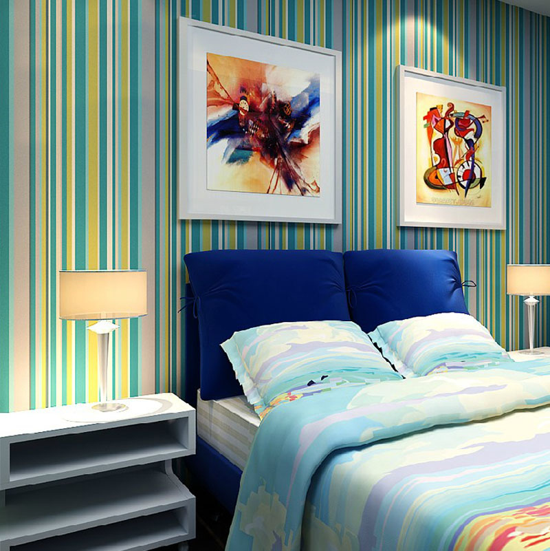 Vertical Stripes Wallpapers for Children Bedroom Wall Paper Kids ...