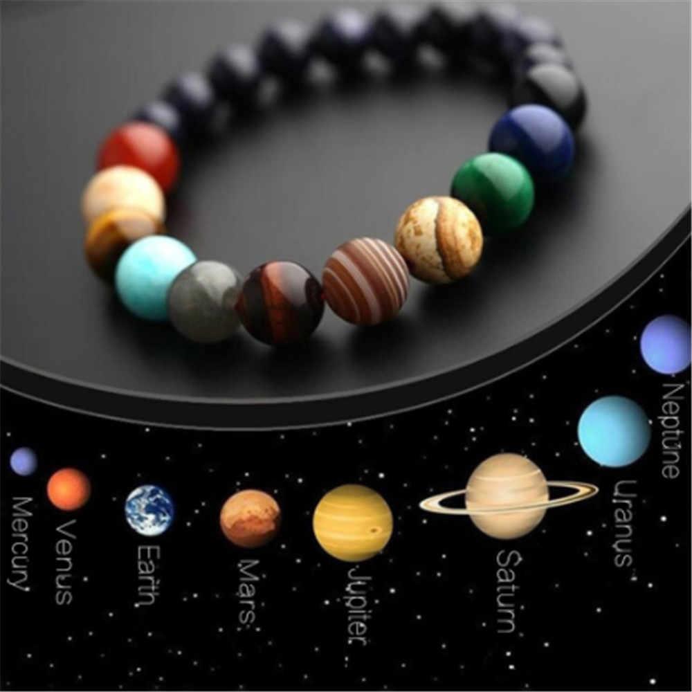 Dropship céu planetário azul arenito lua pedra de cristal contas de pedra natural galáxia planetas sistema solar chakra pulseira