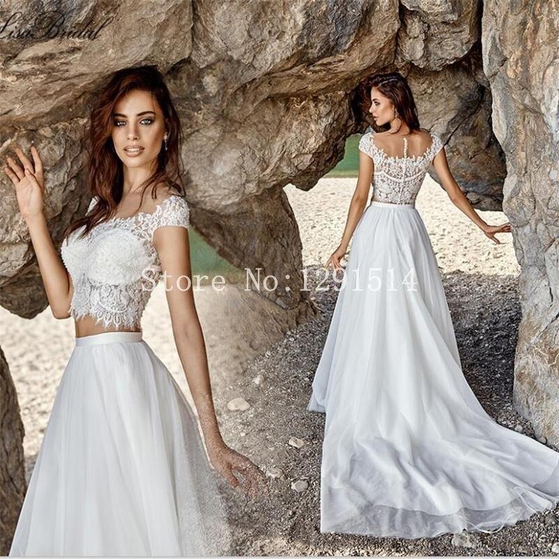 Aliexpress Com Buy Vestido De Noiva 2017 A Line Beach: Sexy Two Piece Beach Wedding Dress 2017 White Lace