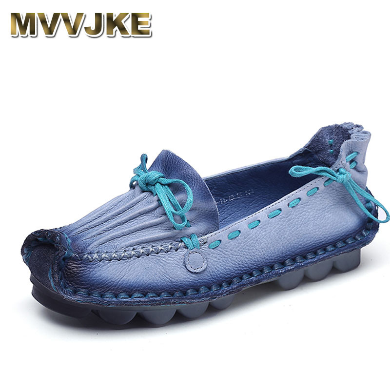 MVVJKE Genuine Leather Flat Handmade Outsole Comfortable Casual Shoes Women Flats Soft Single Shoes Solid Women Loafers vintage embroidery women flats chinese floral canvas embroidered shoes national old beijing cloth single dance soft flats