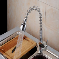 Xueqin Silver Pull Out Spray Kitchen Mixer Tap Sink Chrome Brushed Steel Faucets Pull Out Spray