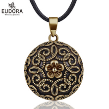 Eudora 20mm Gorgeous Flower Mexican Bola Harmony Chime Ball Pregnancy Baby Pendant Necklace for Women Vintage Jewelry N14NB322