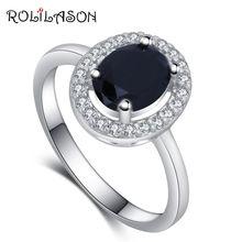 Бренд rolilason Дизайнерское черное циркониевое кольцо для дам