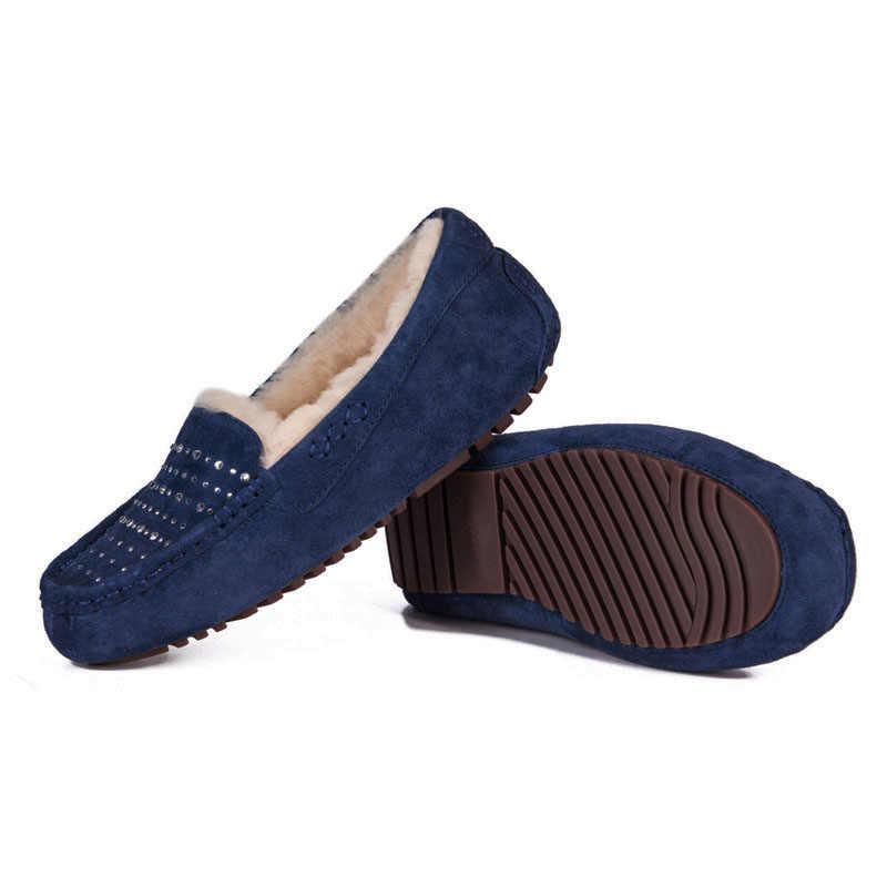 COSMAGIC ใหม่ผู้หญิงฤดูหนาวแกะขนสัตว์ Loafers แบน 2019 แฟชั่นหนัง Slip on รองเท้าแตะอุ่น Bowtie Soft รองเท้า