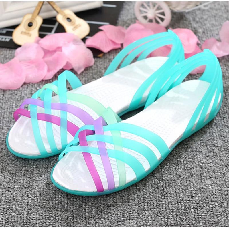 HTB1U 8BuKuSBuNjSsziq6zq8pXa9 MCCKLE Women Jelly Shoes Rainbow Summer Sandals Female Flat Shoes Ladies Slip On Woman Candy Color Peep Toe Women's Beach Shoes