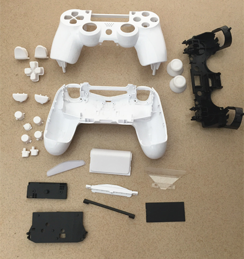 PS4 White Smooth Full Set Housing Shell Case Replace Mod Kit For Sony Playstation 4 Dualshock 4 Wireless V1 Controller Gamepad