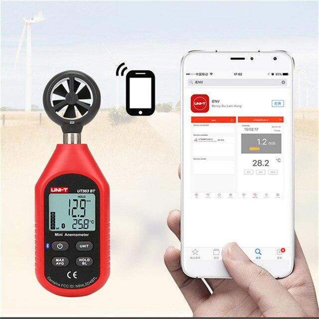 UNI-T UT363BT Termômetro de Medição de Tamanho de Bolso Anemômetro Vento Medidor de Velocidade Digital Bluetooth Mini Anemômetro Medidor de Vento