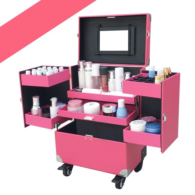 Superbe Aluminum Roll Makeup Storage Case Cosmetic Train Box Trolley Lockable  Black/Pink 37x24.5x48cm