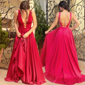 Image 1 - Sexy Red Evening Dresses V Neck Backless Satin Prom Dresses Long Elegant Evening Gown Robe De Soiree Christmas Party Dress Plus