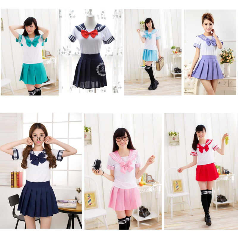 Japanese School Uniform For Girls Navy Sailor Uniform Students Clothes Anime Skirt For Girl Lala Cheerleader Clothing U007