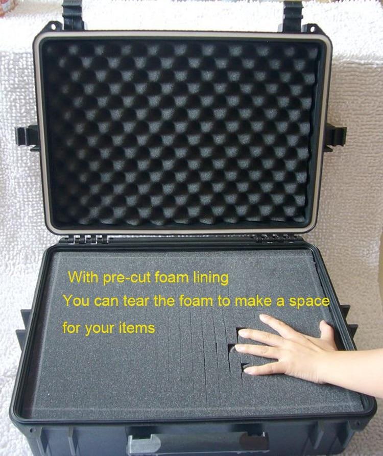 500 * 350 * 200MM Cassetta degli attrezzi per valigetta impermeabile Custodia per fotocamera Valigia per strumenti Valigia resistente agli urti sigillata con rivestimento in schiuma pretagliata