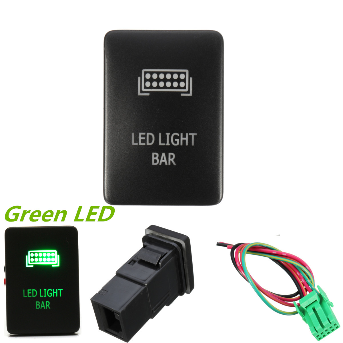 1pcs Car Led On Off Rocker Toggle Switch For Toyota Camery Yaris High Power Drl And Fog Lights With Wiring Aygo Push Green Etching Light Bar Tacoma 2012 Up Center