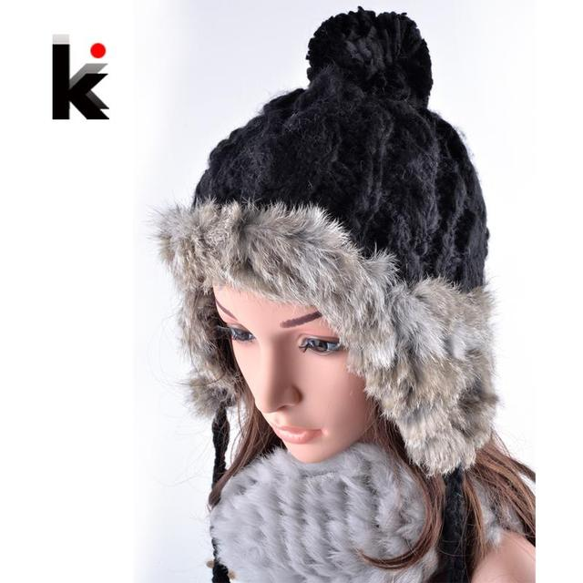 2017 Vogue beanie Winter cap with ear flaps female bomber rex rabbit fur hat thickening knit hats for woman beanies