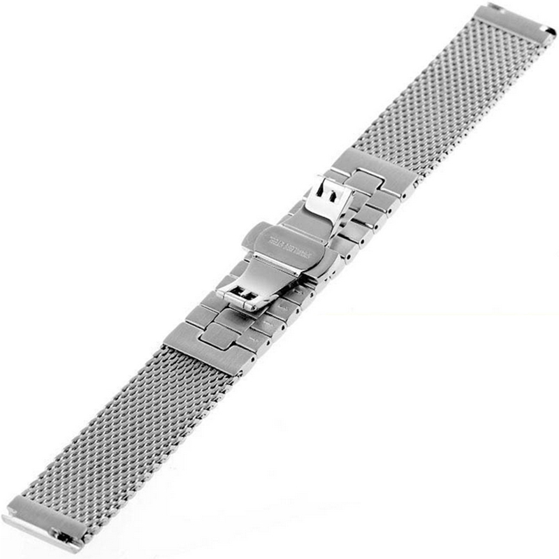 Image 4 - 18/20/22/24 mm Wristband Luxury Stainless Steel Strap Polished Silver Milanese Shark Mesh Milanese Band for Men Women Wristwatchmilanese bandshark meshstainless steel strap -