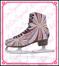 Aidocrystal exclusive design crystal covered ice dancing shoes,ice skating shoes