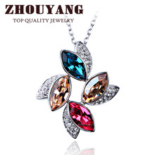 ZHOUYANG Top Quality ZYN436 Luxurious Flower Crystal Necklace Silver Color Fashion Jewellery Nickel Free Pendant Crystal(China)
