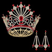 5 Inch Height Vintage Gold Silver Rhinestone Bridal Tiara Wedding Crystal Pageant Tiaras And Crowns Earring