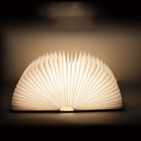 USB Rechargeable Wooden Folding LED Book Light Magnetic Lampesk Table Lamp Deor