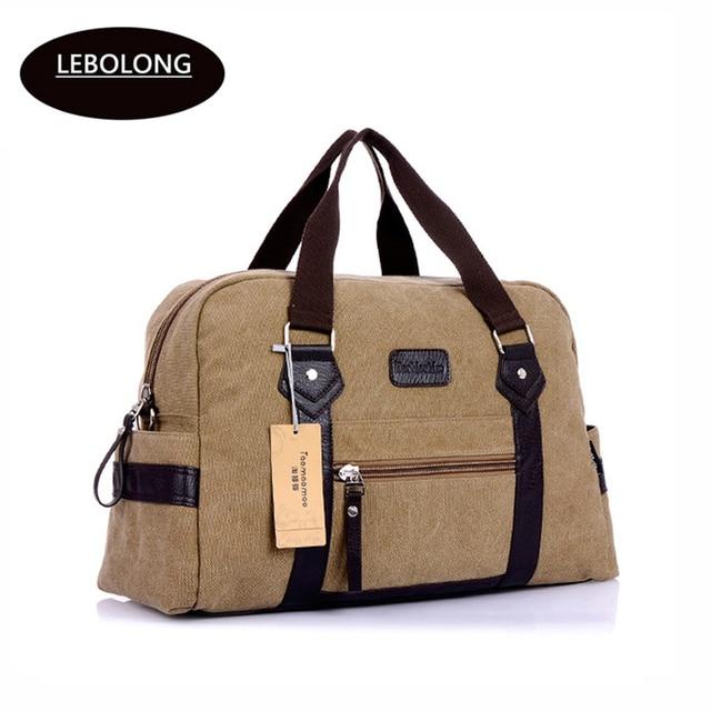 Lebolong Large Capacity Men s Travel Bags Portable Computer Bag Fashion  Casual Canvas Travel Duffel Shoulder Soft 58c623bd8d