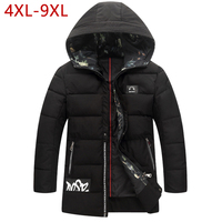 4XL 9XL Long Parka Mens Winter Clothing 2017 Warm Male Thick Coat Hooded Snow Cold Cotton Padded Jacket Veste Homme Inverno W15