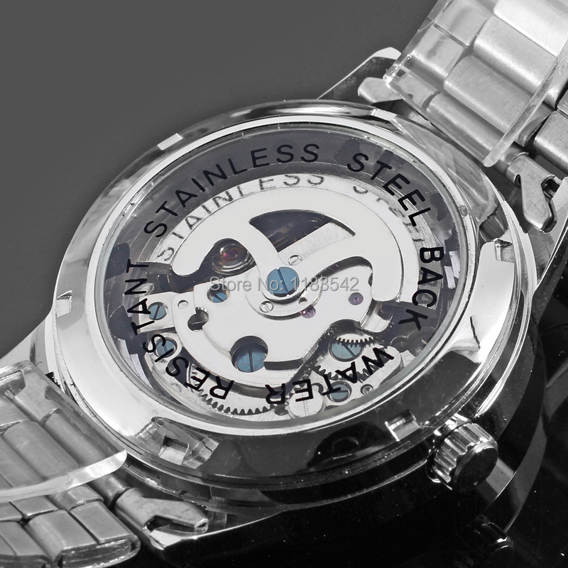 Winner Men's Watch Brand Automatic Movement Transparent Crystal Stainless Steel Bracelet Wristwatch Color Silver WRG8003M4S1