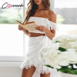 Image 1 - Conmoto kobiety lato biała haftowana spódnica zestaw moda Sexy Off ramię koronkowe krótkie bluzki Mini spódnica garnitur kobiece zestawy wakacyjne