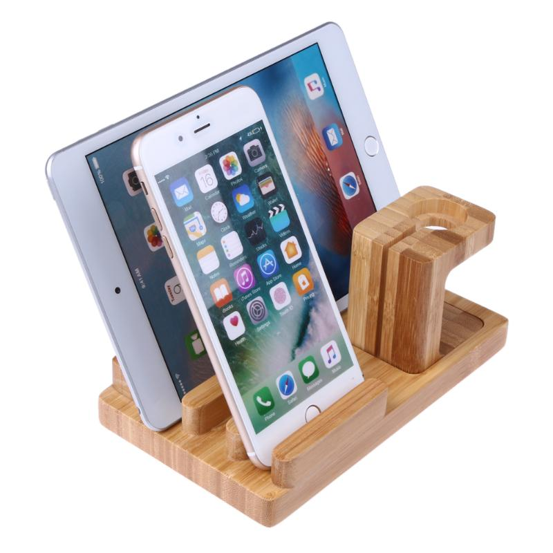 3 IN 1 Docking Station Bamboo Wood Charge Holder Docking Station Bracket Phone Stand Bracket For Apple Watch IPhone IPad