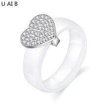 Здесь можно купить   Heart white Ceramic Ring CZ Jewelry Women