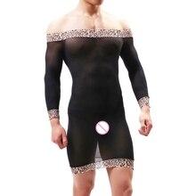 Сетчатое нижнее белье Mae с рукавом, облегающее белье, хит, рубашка, мужское платье, сексуальное фетиш, рубашка, страстный Леопардовый Костюм, наряд, боди, костюм