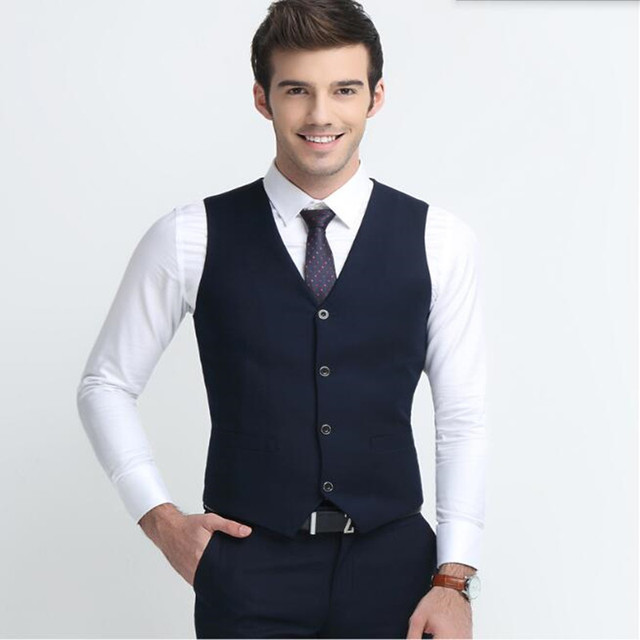 Blue men vest Haute couture wedding tuxedos vest fashion handsome groom  groomsman formal occasions suits vest-in Vests from Men's Clothing &