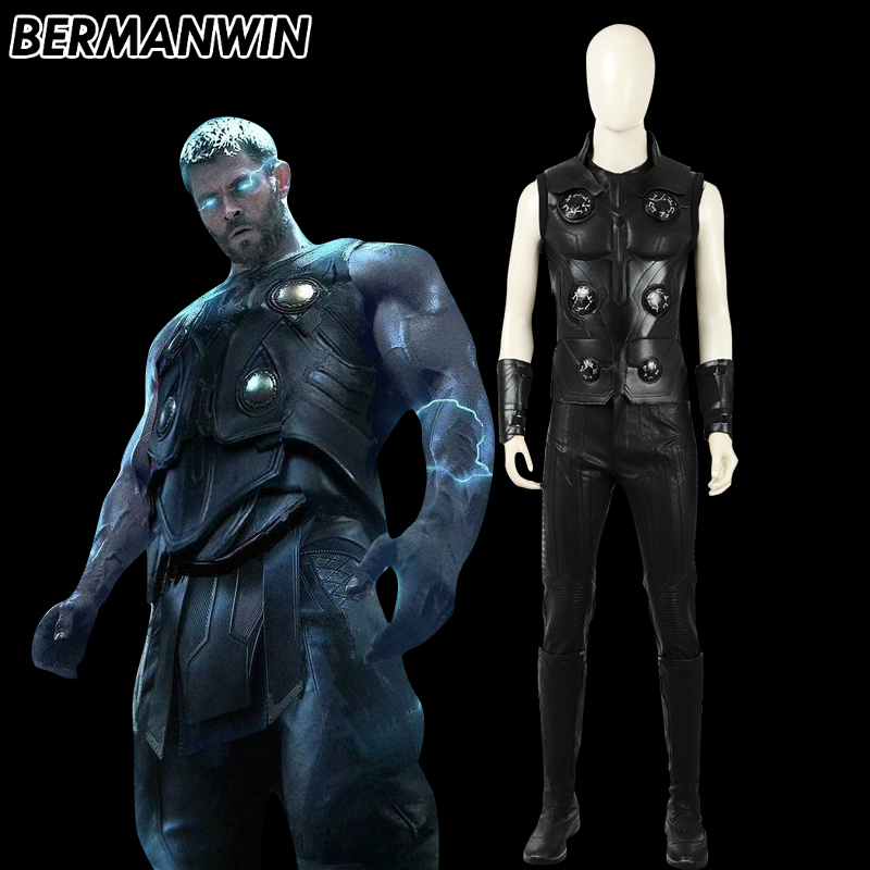 BERMANWIN High Quality Avengers Infinity War Thor Cosplay Costume Thor Odinson Infinity War Costume Thor Cosplay Halloween Men
