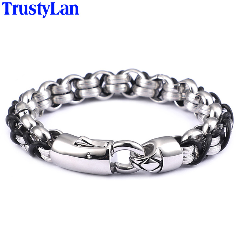 TrustyLan Hot Selling Leather Bracelet Men Chain Link 316L Stainless Steel Mens Friendship Bracelets & Bangles 2018 Dropshipping