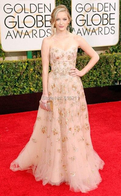 Moda lindo celebridade vestidos 2017 golden globe awards Greer Grammer appliqued a linha tulle tapete vermelho vestidos hot sale
