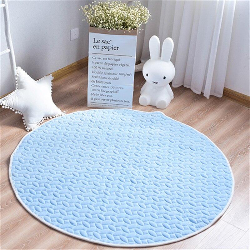 Tapis de jeu rond en velours bleu pour tapis de dentition pour bébé