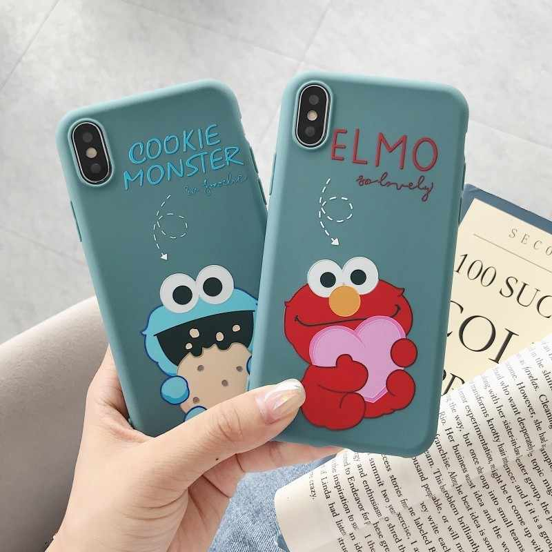 Cartoon Case for XR X XS Max Cute Sesame Street Elmo Cookie Monster Anime Soft Case Cover for iPhone 7 6 6S 8 Plus Coque Funda