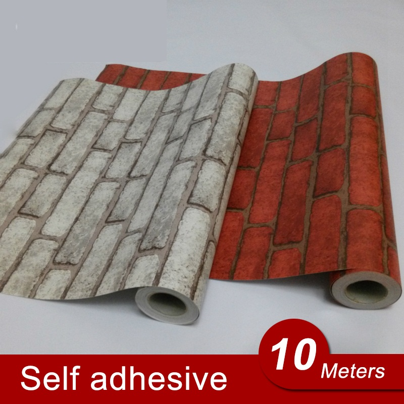 10M Back with Glue Vinyl Self Adhesive Wallpaper PVC Wall Stickers Brick Waterproof Brick Wall Paper For Room Kitchen Bathroom rushed tapete 60cm wide brick pattern stone texture wall vinyl furniture stickers self adhesive pvc wallpaper tv backdrop page 10