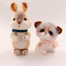 DIY Wool Felt Cute Rabbit Needle Felting Toy Of Handmade Craft Kits Cat Christmas Diy Crafts For Kids Birthday Gift