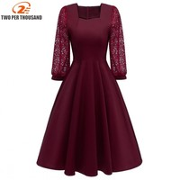 Hot Spitze Patchwork Elegant A line Party Kleider Mode Frauen Kleid Casual Dresses Pink Dress Festa