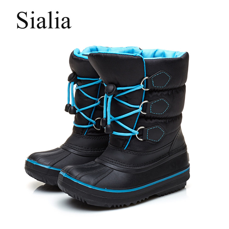 Sialia Winter Children Boots For Kids Shoes Girls Boots Boys Shoes Lace-up Warm Outdoor Kids Snow Boots Plush Fashion Footwear