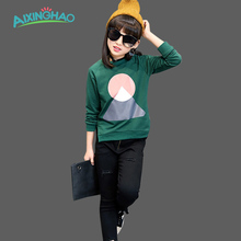 Aixinghao Girls Top Print T shirts Cotton Spring Kids T Shirts Autumn Children Tops Teenage Kids