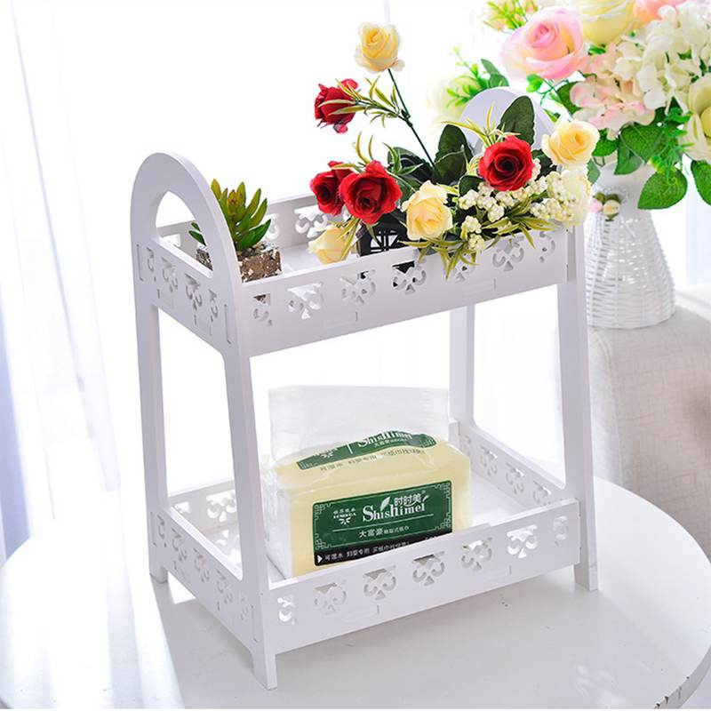 Urijk Elegant Desktop Storage Shelf Carving Double Layer Storage Holder Small Book Shelf Flower Racks Women Makeup Organizer