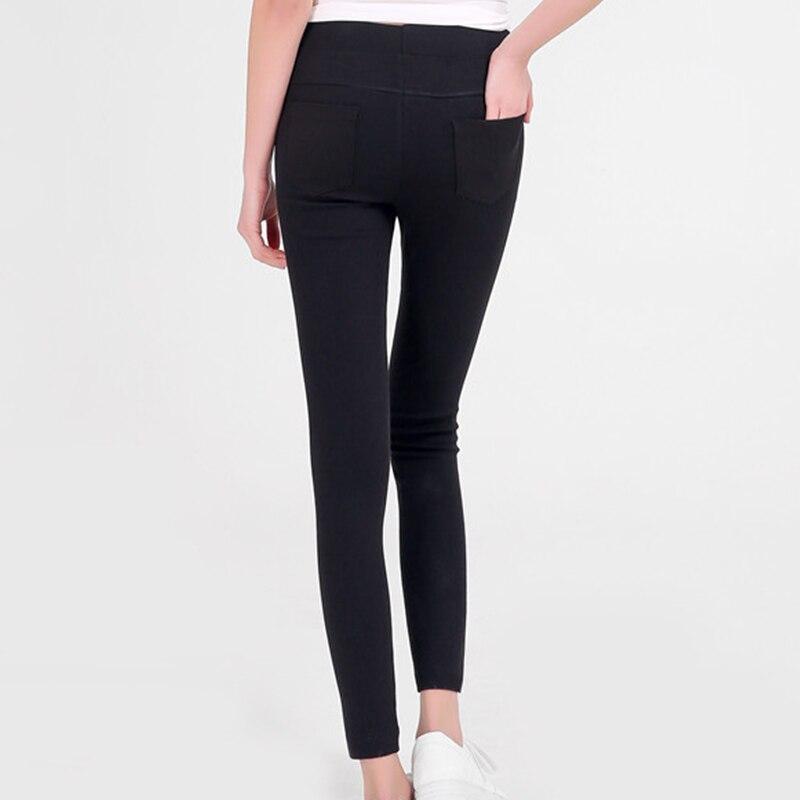 Ladies Side Pants Irregular Legs With Lace Elastic Black Leggings Skinny Pants High Waist Workwear Woman Pants Casual Trousers
