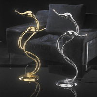 Italy Plated Metal Art Deco Swan Table Light 2 / 5 Lights G4 Chrome Gold Art Deco Art Deco Desk Lamp For Bedroom Study Room