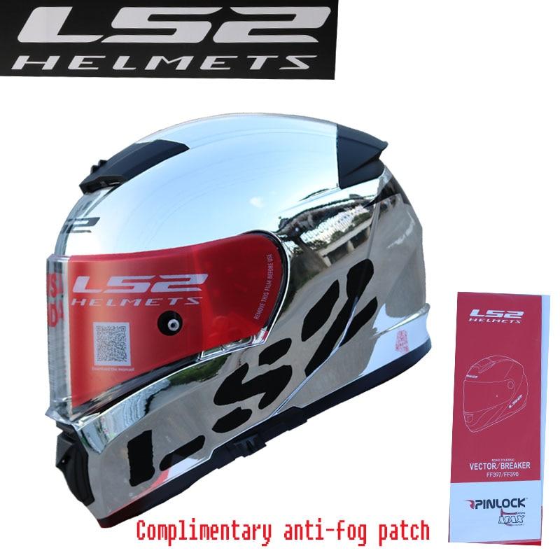 100 Original 2018 LS2 FF390 Motorcycle helmet chrome mirror dual lens Full Face Helmet Included Fog